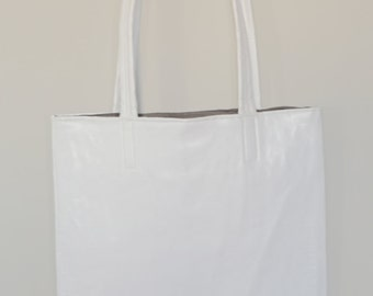 Tote bag faux leather white