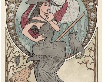 WITCH by ALFONS MUCHA Art Nouveau Classic Art Print 8 x 10 Witches Cat Familiar Print Witch Decor Gypsy Decor