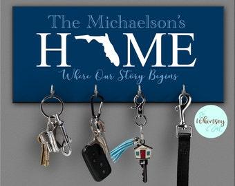 key rack, key organizer, personalized key rack, family key holder, key rack, wall key rack, key holders, wedding gift, realtor gift,