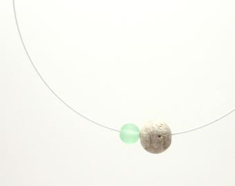 Handcrafted Minimalist Concrete Sphere Necklace. Stainless steel wire. Architectural. Geometric. Contemporary. Fufú Concrete Jewelry.