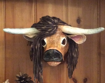Heathcliffe highland cow. Faux taxidermy head, hand made trophy, wall decor, quirky gift