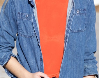 Denim Button-up with front pockets- Size XS