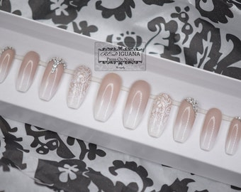 Ombre Nails with Stamped Lace & Swarovski Crystals | Any Shape
