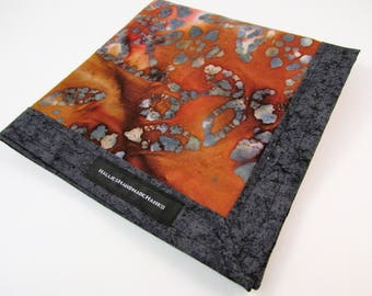 Shades of Red Gray and Gold Batik Fabric Hank Handmade Hank EDC Hank Everyday Carry Pocket Dump Hank Mens Handkerchief Gift for Him