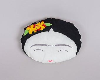 Frida Kahlo Pillow, Nursery Pillows, frida kahlo, Decorative Pillow, Throw pillow, Kids Modern Pillow, Mexican Folk Art, Girl Power