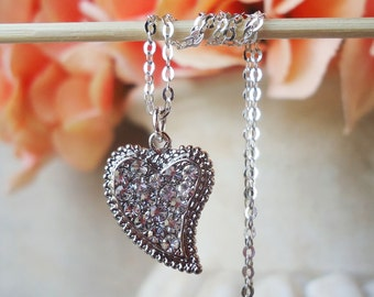Heart Pendant Necklace.Jeweled.Crystal.Diamond.Dainty.Sterling Silver Chain.Bridal.Bridesmaid.Gemstone.Small.White.Vintage.Gift.Handmade.