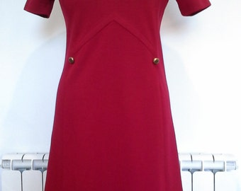 Dark red A line winter 1970s dress with button detail