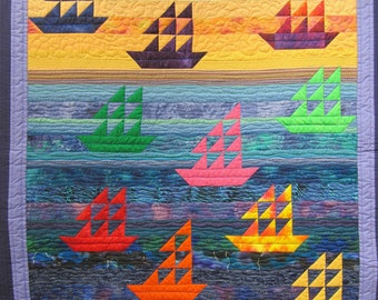 Handmade Patchwork Sailing Boats Wallhanging Quilt