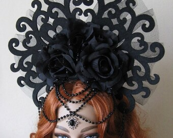 "Head dress ""Black Medusa"" fantasy Gothic WGT headdress black tulle roses"