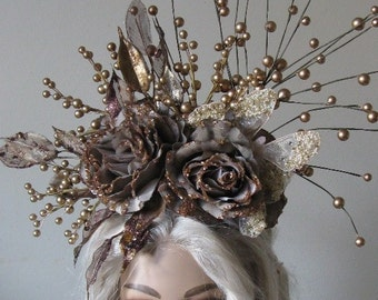 "Beautiful Goldberry Butterfly head dress ""Helena"" glitter Roses of Berry's bronze pearls fairy fantasy Gothic Crown tiara headpiece"