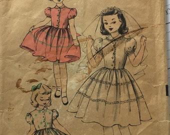 Vintage 1950's Advance 6403 Girl's Party Formal Communion Dress Size 8 Full Skirt Pattern Antique Dress Pattern