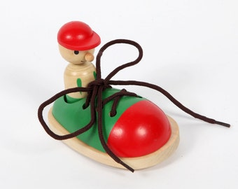 Vintage toys-wooden shoe laces to learn to lace up