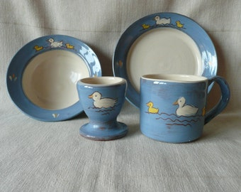 Child's breakfast set. Handmade and painted pottery. Ideal Christening gift, can be personalised.