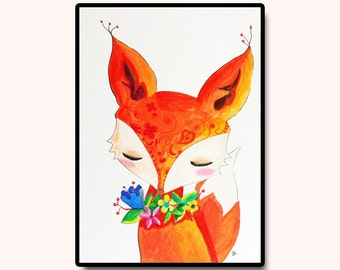 "Woodland Animals, Nursery Wall Art, Kids Room Art, Baby Shower, Fox Drawing, Original Nursery Art, Fox with Flowers, 5""x7"""