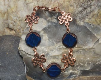 Czech Glass Bead and Copper Celtic Knot Bracelet