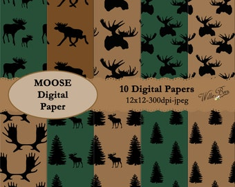 INSTANT DOWNLOAD – 10 Moose digital papers. 12x12 scrapbooking paper. Great for craft projects, cards, invites and much more
