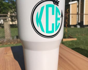 Monogram black and teal decal