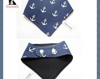 Mark dog bandana with anchor motif, scarf for dogs