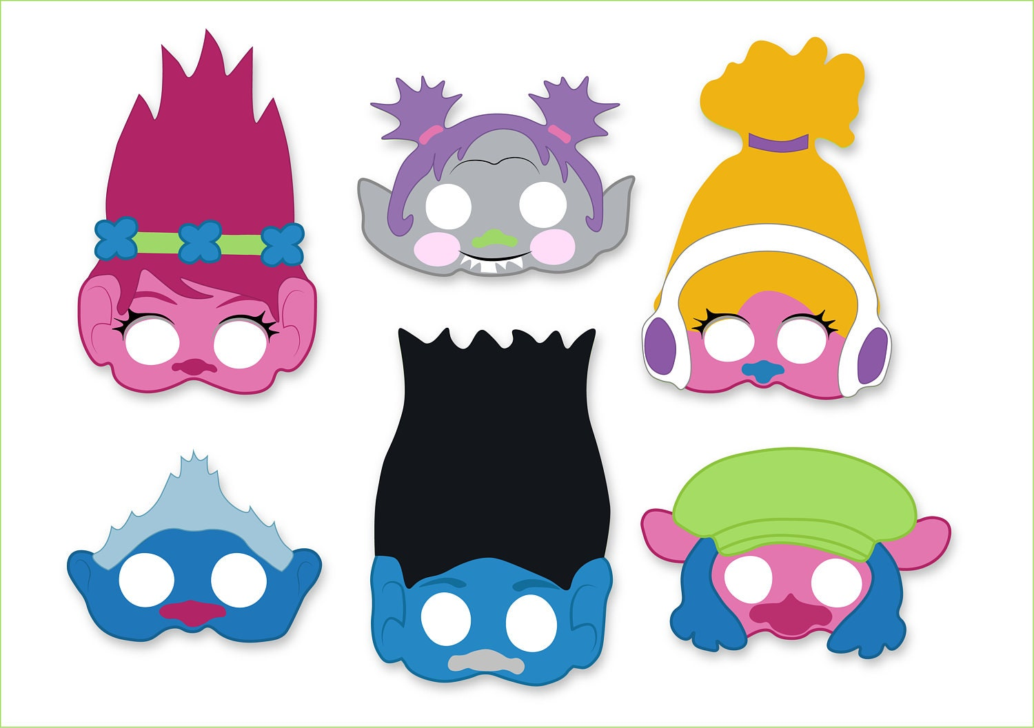 trolls mask printables photo booth props