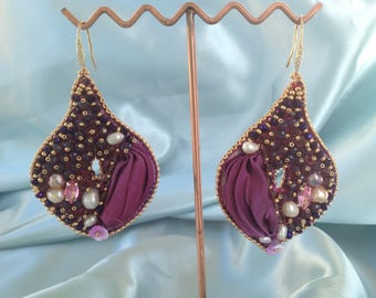 Shibori silk earrings