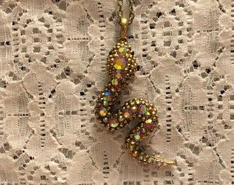 Antinque Finish Goldtone Snake Crystal Necklace/Aurora Borealis Snake Necklace/Snake Necklace