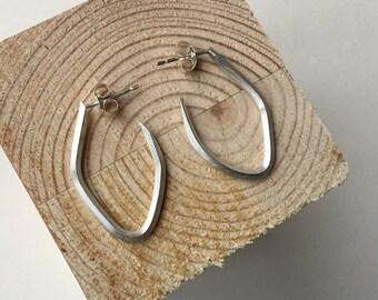 Hoop earrings - sterling silver geometric hoops
