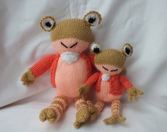 Hand Knitted Frog, Soft Small Jeremy Fisher Knitted Animals