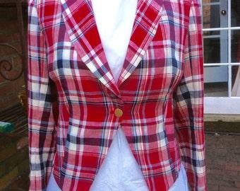 Red Tartan Linen Mess Jacket