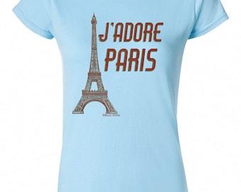 J'Adore PARIS Eiffel Tower Ladies T-Shirt Retro Birthday Gift New