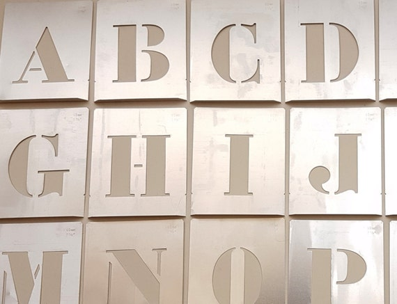 large 4 inch letter stencil new single letter aluminum. Black Bedroom Furniture Sets. Home Design Ideas