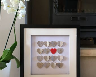 Large Queen of Hearts 3D wall Art, Heart picture, Gift for her,