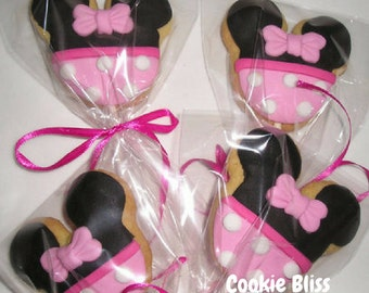 6 Pink Minnie Mouse Cookie Pops Party Favors Kids Birthday Favors Decorated Cookies Baked Goods Cookie Lollipops Cookie Gifts Sugar Cookies