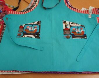 Kitchen apron turquoise cotton with pirates-print