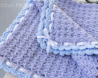 Baby Blanket Crochet PATTERN, Crochet Afghan Pattern, Scallop Edge & Trim, Grey Blanket, Blue Trim, Blanket with Bow
