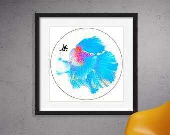 Blue Betta,Color Pencil Sketch Print,Graphite,Digital Painting,Giclee Print