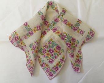 Vintage Handkerchief / Patchwork Garden