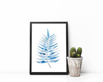 Palm Branch Print, Nature Print, Plant Print, Minimalist Print, Botanical Print, Blue Print, Watercolor Print, Green Print