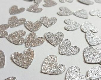 50 pcs Silver Glitter Heart Confetti / Valentine's Day Confetti / Bridal Shower Confetti / Engagement Party Confetti / Baby Birthday