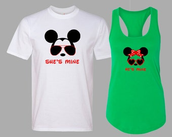 Disney Matching Shirts. She's Mine He's Mine Disney Couples Shirt. Disneyland Matching Shirts. Disney Valentines Day [E0122][E0121]