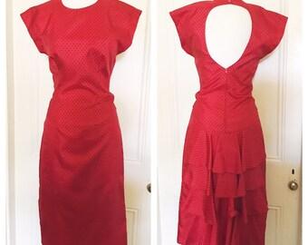 Vintage 80's Poly Back Peplum Ruffle Dress