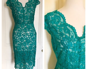 Vintage 90's Lace Dress with Scallop hem