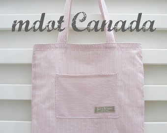 tote bag, library bag, lesson bag, shoulder bag, pink stripe
