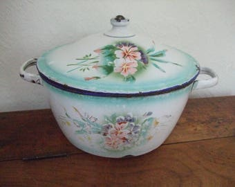 Old enamelled old tureen soup tureen enameled decoration of flowers