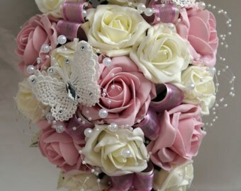 Wedding Flowers, Vintage Pink/Ivory with lace butterflies Brides, Bridesmaids etc