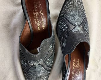 Donald J Pliner Western Couture Collection vintage 1990's grey embroidered mules SHOES cowgirl