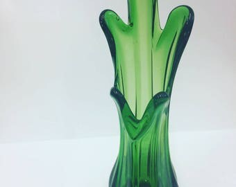 Vintage/Midcentury Green Glass Vase - Small