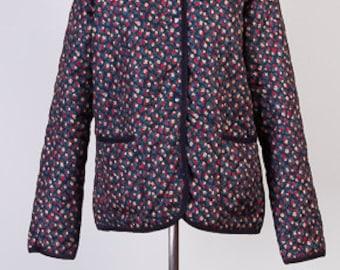 Vintage womens jacket,Quilted jacket,Thin jacket,Flowery jacket,Hoodie jacket,Size 14UK