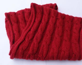 Vintage scarf,Woman scarf,Red scarf,Knitted scarf,Winter scarf,Tunnel scarf,Free size