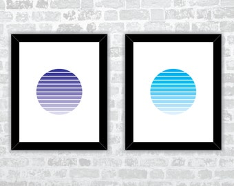 Circle Striped - 7 different colors - Wall Art - Digital Download - Printable Art
