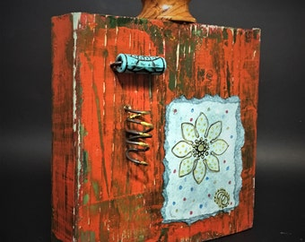 small reclaimed wood art, mandala, watercolour, beads, whimsy, burgandy, original art,  unique,